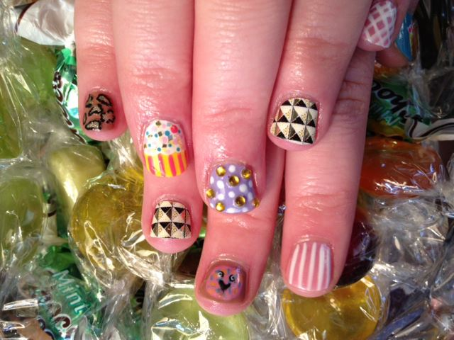Pick 'n' mix nail art by Natasha at Powder