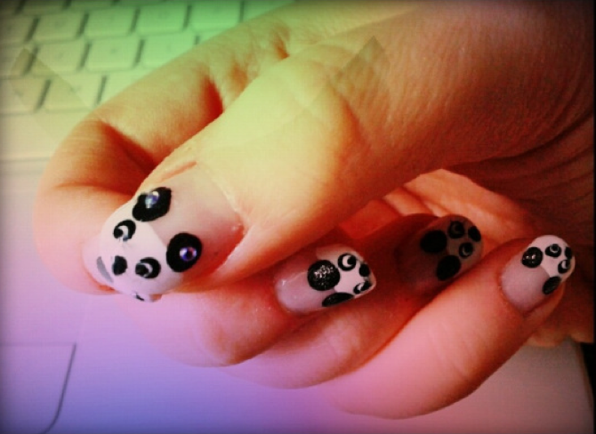 Freehand panda nail art by Lucy at Powder