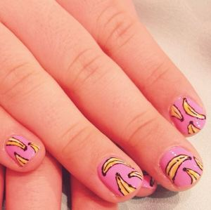 bananas on pink nail art